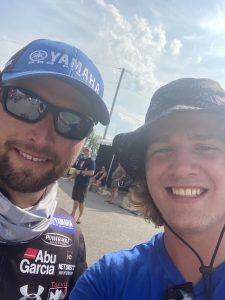 Ty takes a selfie with Champion Bass Pro Angler and athlete Justin Lucas