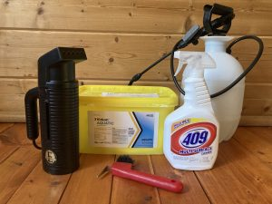 A water sprayer and Formula 409 are tools for decontaminating fishing equipment