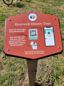 Riverwalk history sign with QR code